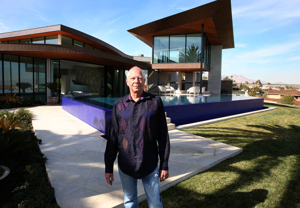 Jim Rhodes, a developer, poses for a photo at his mansion on Friday, Feb. 1, 2019, in Spanish Hills community in Las Vegas. Rhodes has listed his mansion for almost $30 million. (Bizuayehu Tesfaye ...