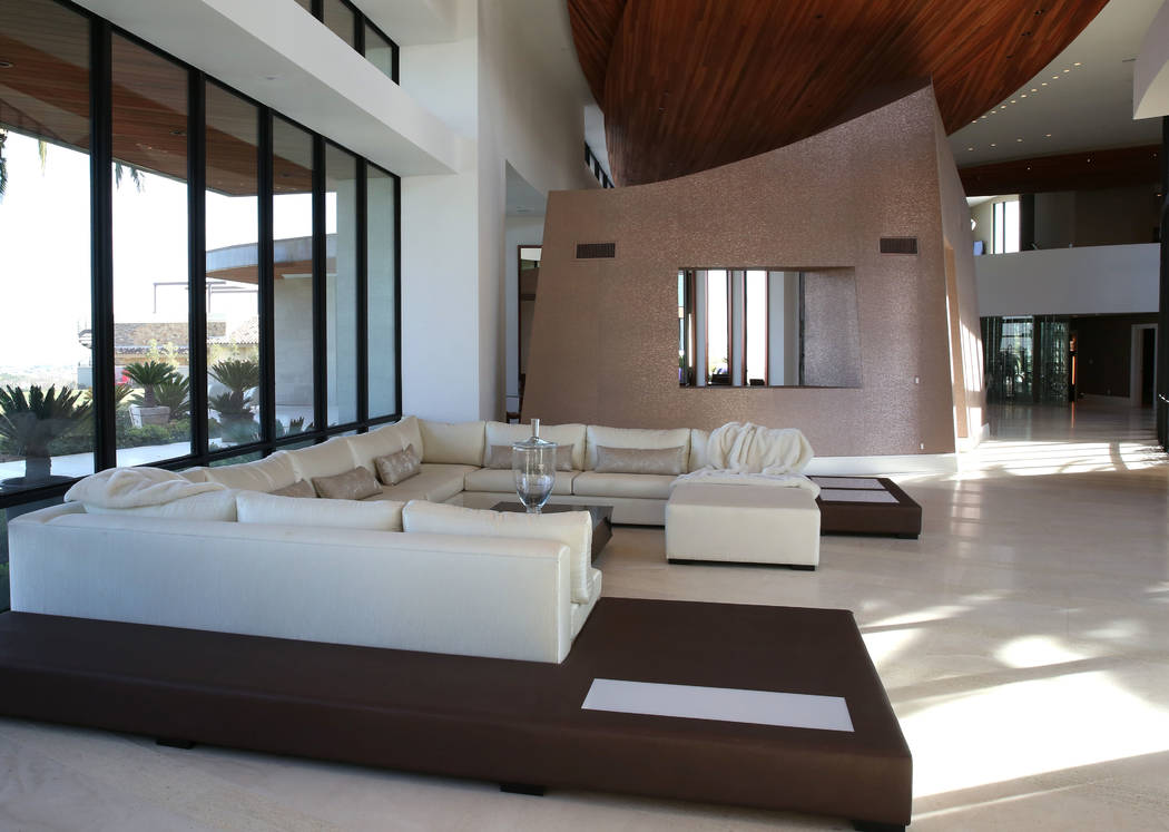 A living room is seen at the mansion of Jim Rhodes, a developer, on Friday, Feb. 1, 2019, in Spanish Hills community in Las Vegas. Rhodes has listed his mansion for almost $30 million. (Bizuayehu ...