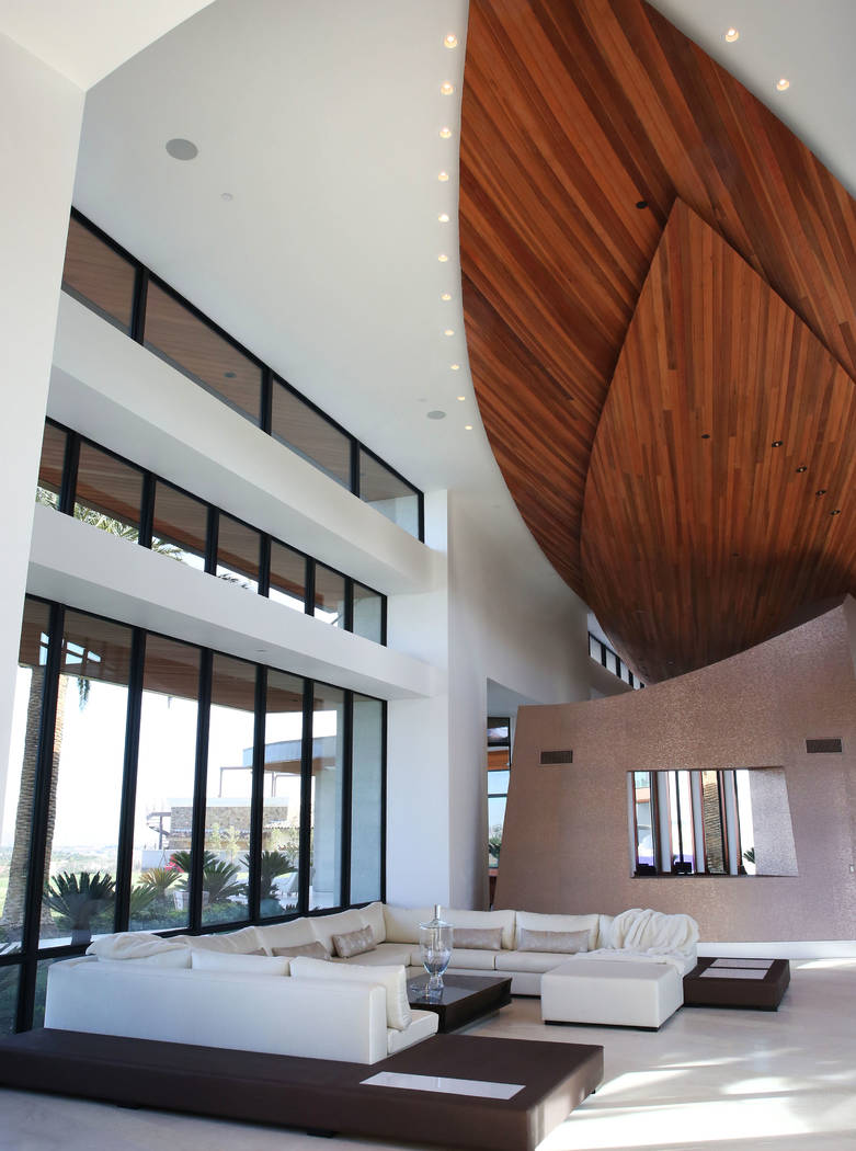 The living room is seen at the mansion of developer Jim Rhodes on Friday, Feb. 1, 2019, in the Spanish Hills community in Las Vegas. Rhodes has listed his mansion for almost $30 million. (Bizuayeh ...