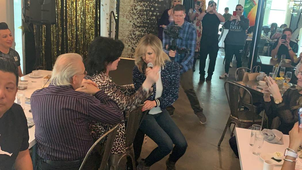"Debbie Gibson performs her 1987 hit ""Shake Your Love"" for Frank Marino during ""A Diva-Licious Drag Brunch"" at DW Bistro on Sunday, Feb. 3, 2019. (Dayna Roselli)"