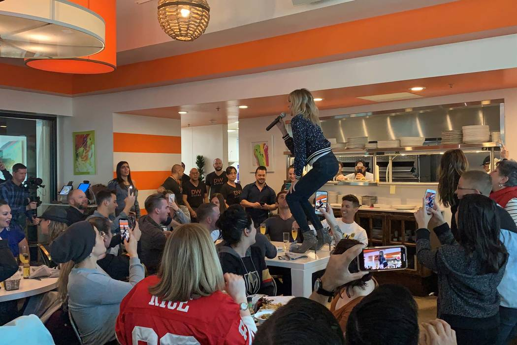 "Debbie Gibson performs her 1987 hit ""Shake Your Love"" during Frank Marino's ""A Diva-Licious Drag Brunch"" at DW Bistro on Sunday, Feb. 3, 2019. (Dayna Roselli)"