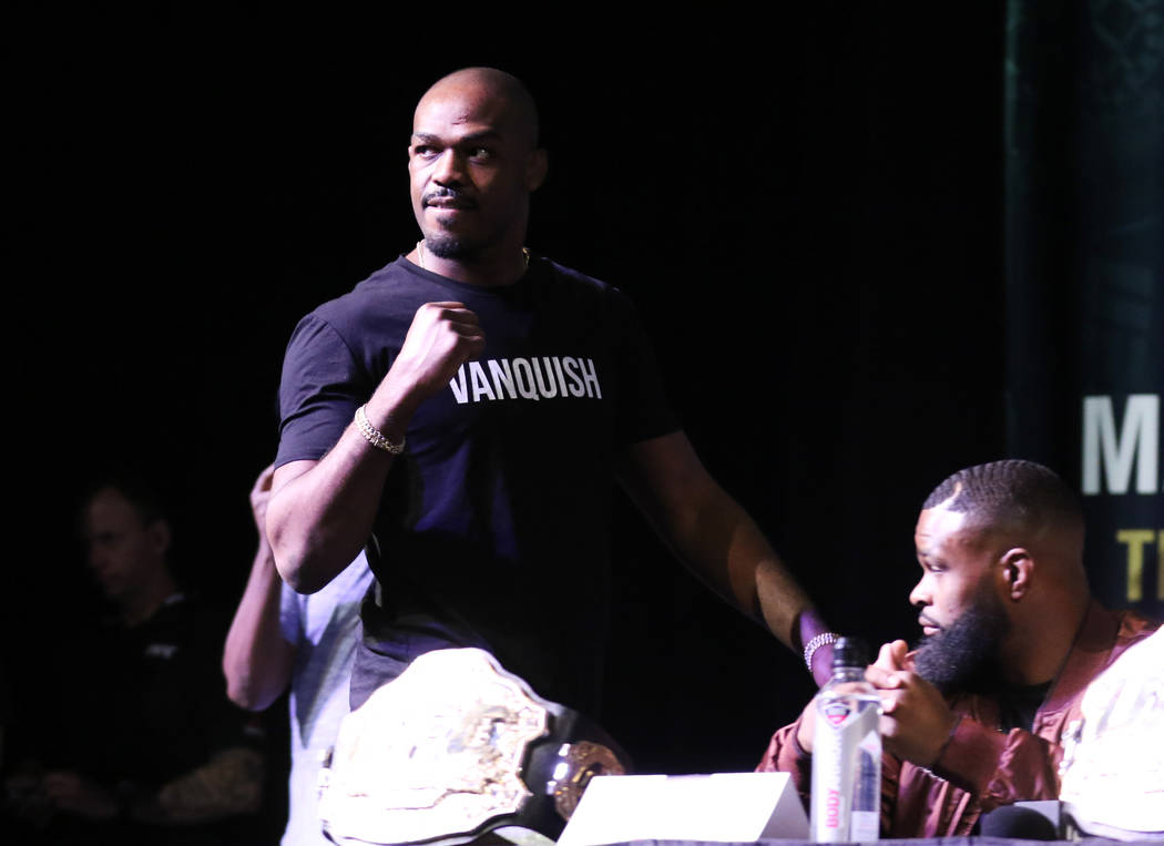 UFC light heavyweight champion Jon Jones arrives at a news conference to promote UFC 235 at the David Copperfield Theater at the MGM Grand hotel-casino in Las Vegas, Thursday, Jan. 31, 2019. (Heid ...