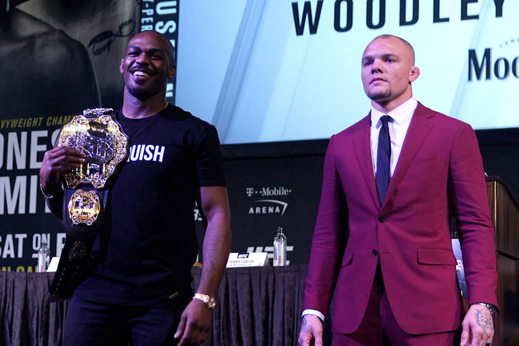 Jon Jones and Anthony Smith at a press conference for UFC 235 at MGM Grand in Las Vegas on Jan. 31, 2019. (Heidi Fang/Las Vegas Review-Journal)