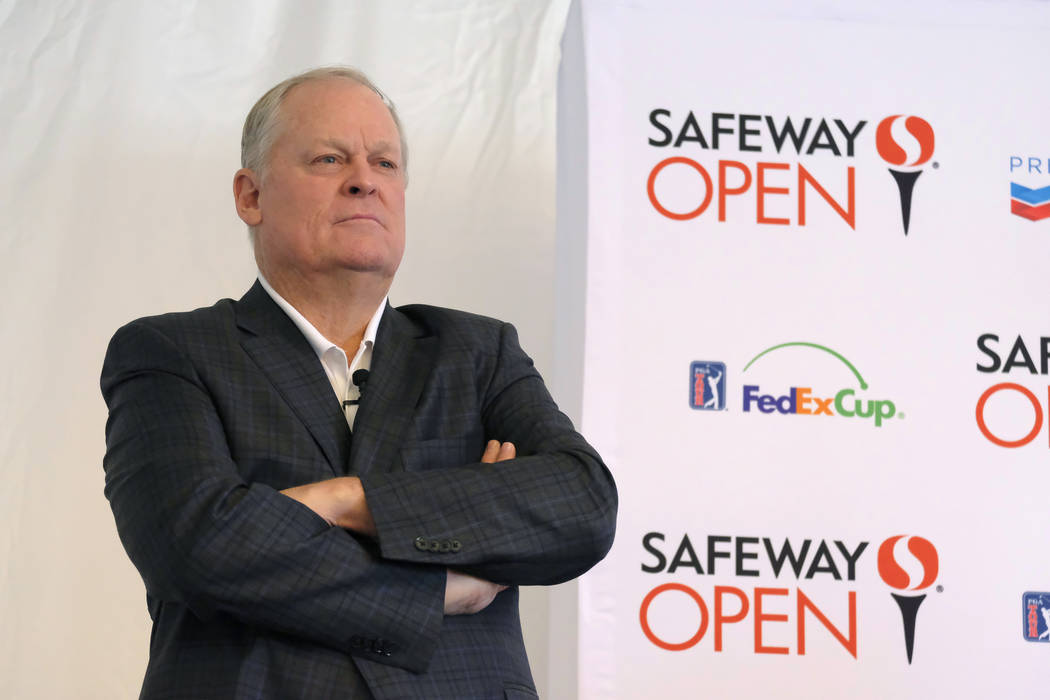 Hall of Famer and broadcaster Johnny Miller during media day for the Safeway Open golf tournament Tuesday, Aug. 29, 2017, in Napa, Calif. (AP Photo/Eric Risberg)