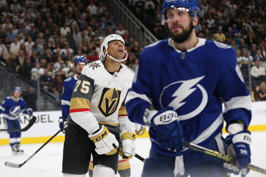Vegas Golden Knights right wing Ryan Reaves (75) reacts after a play against Tampa Bay Lightning during the third period of an NHL game at T-Mobile Arena in Las Vegas, Friday, Oct. 26, 2018. Erik ...