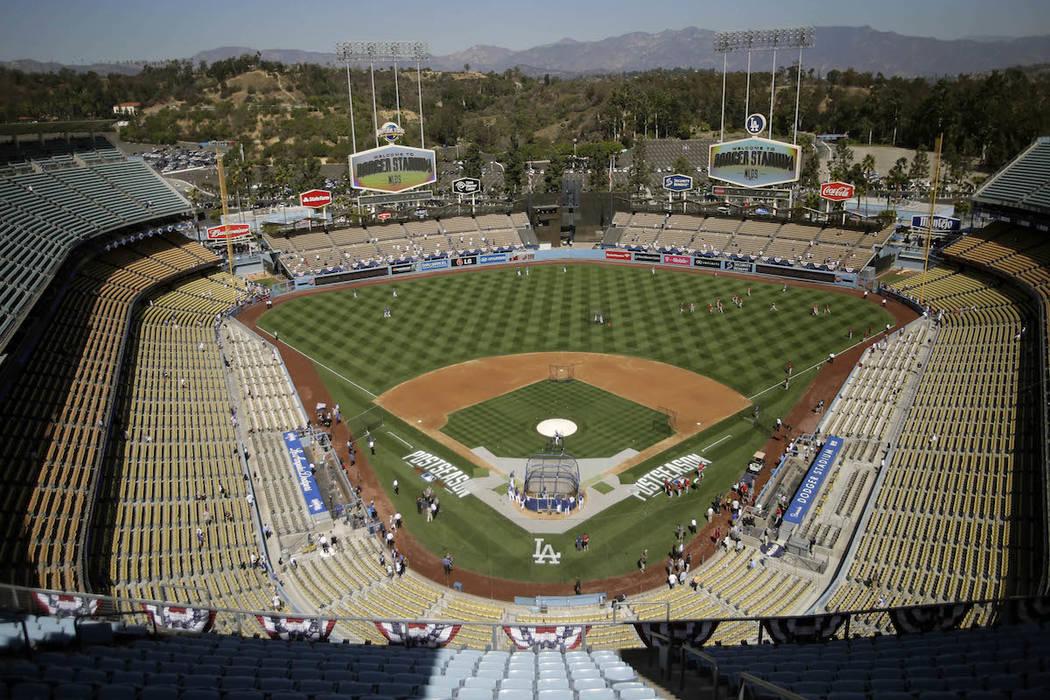 A file photo of Dodger Stadium in Los Angeles, California. (AP Photo/Alex Gallardo, File)