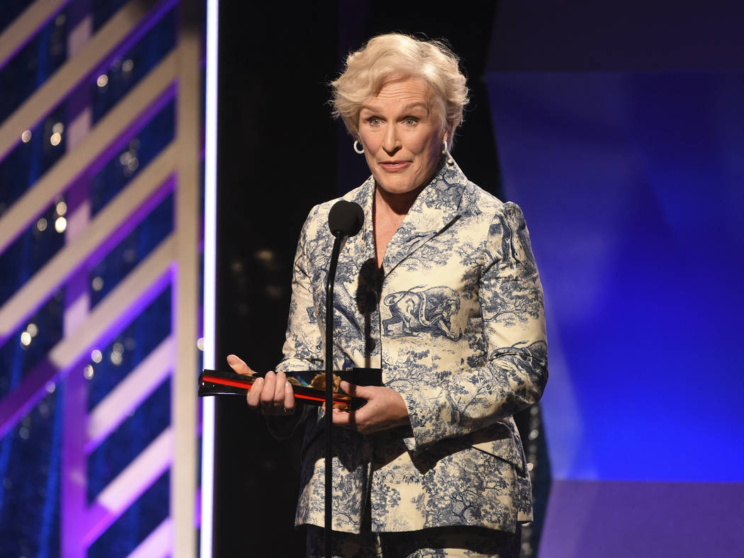 """CORRECTS MONTH TO FEBRUARY INSTEAD OF JANUARY - Glenn Close accepts the Best Actress award for """"The Wife"""" during the 18th Annual Movies For Grownups Awards at Beverly Wilshire Hotel on M ..."""