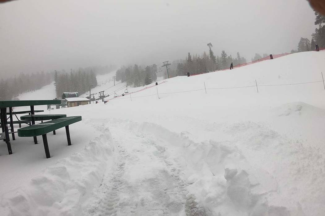 The Lee Canyon ski area northwest of Las Vegas got a foot of snow overnight, bringing the total from the latest storm to 30 inches. (Lee Canyon)