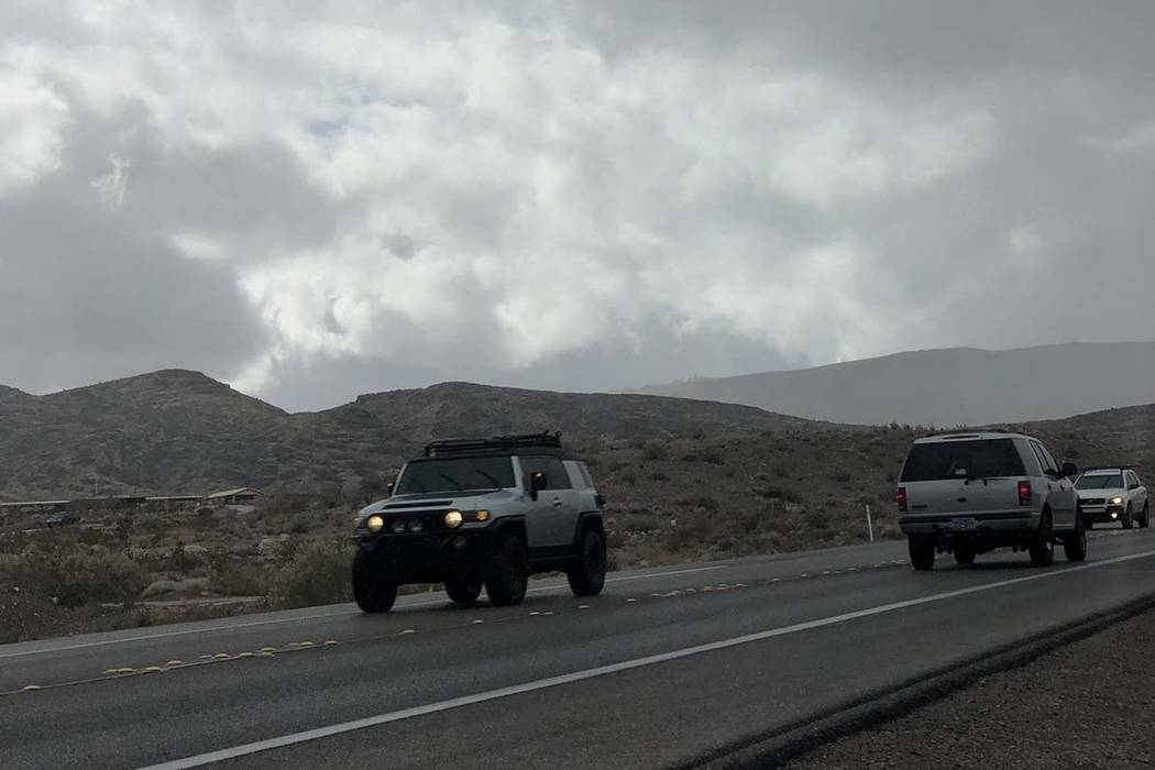 Rain and freezing rain is moving into the Las Vegas Valley from the west, Tuesday, Feb. 5, 2019. (Bizuayehu Tesfaye/Las Vegas Review-Journal) @bizutesfaye