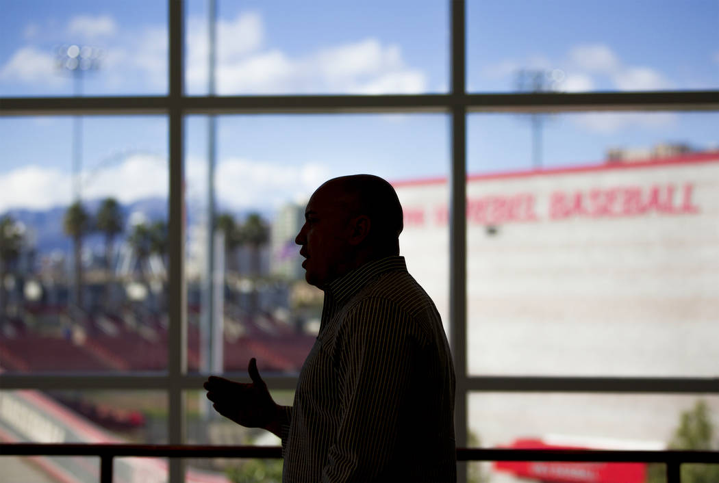 UNLV football coach Tony Sanchez discusses his upcoming recruiting class on Wednesday, Feb. 6, 2019, at Lied Athletic Complex, in Las Vegas. (Benjamin Hager/Las Vegas Review-Journal) @BenjaminHphoto