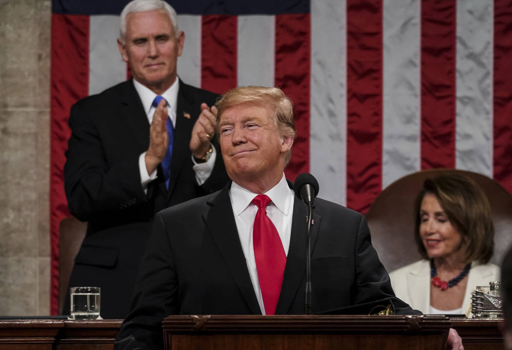 President Donald Trump gives his State of the Union address to a joint session of Congress, Tuesday, Feb. 5, 2019 at the Capitol in Washington, as Vice President Mike Pence, left, and House Speake ...
