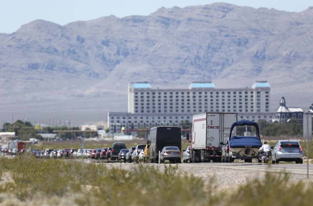 Heavy traffic moves along South Las Vegas Boulevard approaching the Gold Strike Hotel & Gambling Hall in Jean on Monday, May 28, 2018. (Richard Brian/Las Vegas Review-Journal) @vegasphotograph