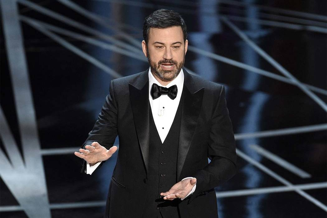 Host Jimmy Kimmel appears at the Oscars in Los Angeles on Feb. 26, 2017. Kimmel accepted U.S. Senate candidate Roy Moore's invitation to meet him in Alabama on Nov. 30, 2017, after Kimmel sent a c ...