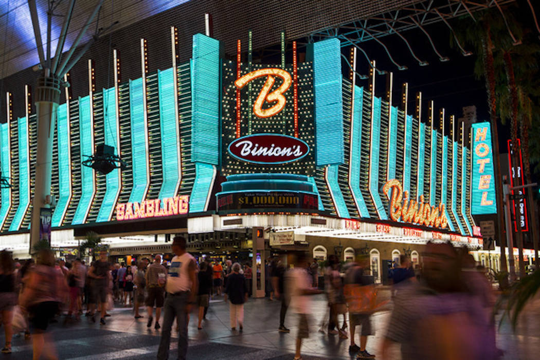 The exterior of Binion's hotel-casino is shown along the Fremont Street Experience in downtown Las Vegas on Wednesday, Aug. 10, 2016. Chase Stevens/Las Vegas Review-Journal Follow @csstevensphoto