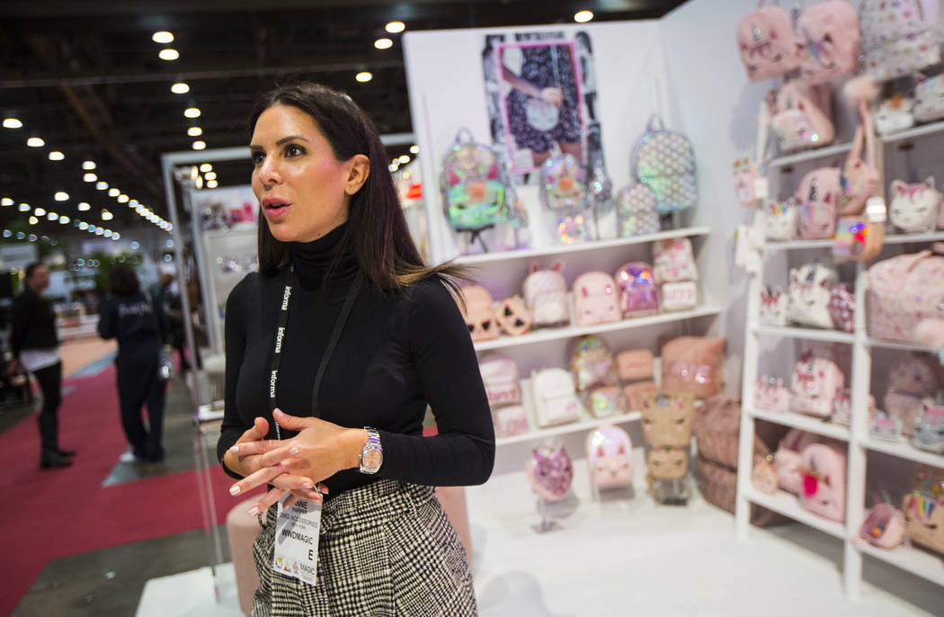 Anne Harper, CEO and founder of OMG! Accessories, talks about her business during WWDMAGIC, part of the MAGIC trade show, at the Las Vegas Convention Center in Las Vegas on Tuesday, Feb. 5, 2019. ...