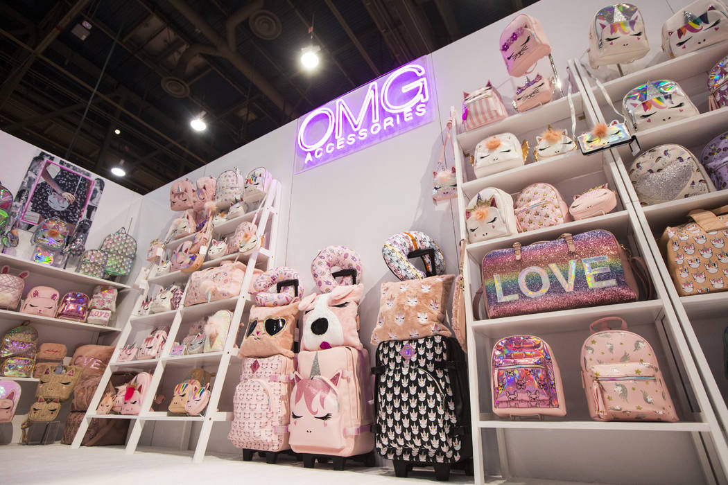 Products from OMG! Accessories on display during WWDMAGIC, part of the MAGIC trade show, at the Las Vegas Convention Center in Las Vegas on Tuesday, Feb. 5, 2019. (Chase Stevens/Las Vegas Review-J ...