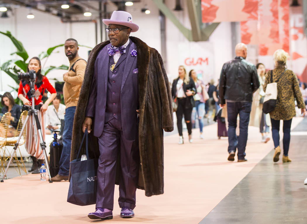 Charlie Williams of North Las Vegas roams the show floor during WWDMAGIC, part of the MAGIC trade show, at the Las Vegas Convention Center in Las Vegas on Tuesday, Feb. 5, 2019. (Chase Stevens/Las ...