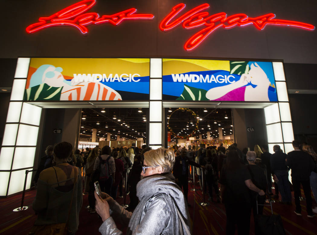 Attendees line up to enter the show floor for WWDMAGIC, part of the MAGIC trade show, at the Las Vegas Convention Center in Las Vegas on Tuesday, Feb. 5, 2019. (Chase Stevens/Las Vegas Review-Jour ...