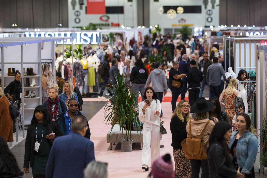 Attendees walk the show floor during WWDMAGIC, part of the MAGIC trade show, at the Las Vegas Convention Center in Las Vegas on Tuesday, Feb. 5, 2019. (Chase Stevens/Las Vegas Review-Journal) @css ...