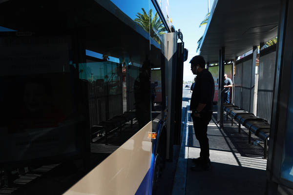Folks ride the bus at the stop near the intersection of Flamingo Road and Maryland Parkway in Las Vegas on Friday, May 4, 2018. Andrea Cornejo Las Vegas Review-Journal @dreacornejo