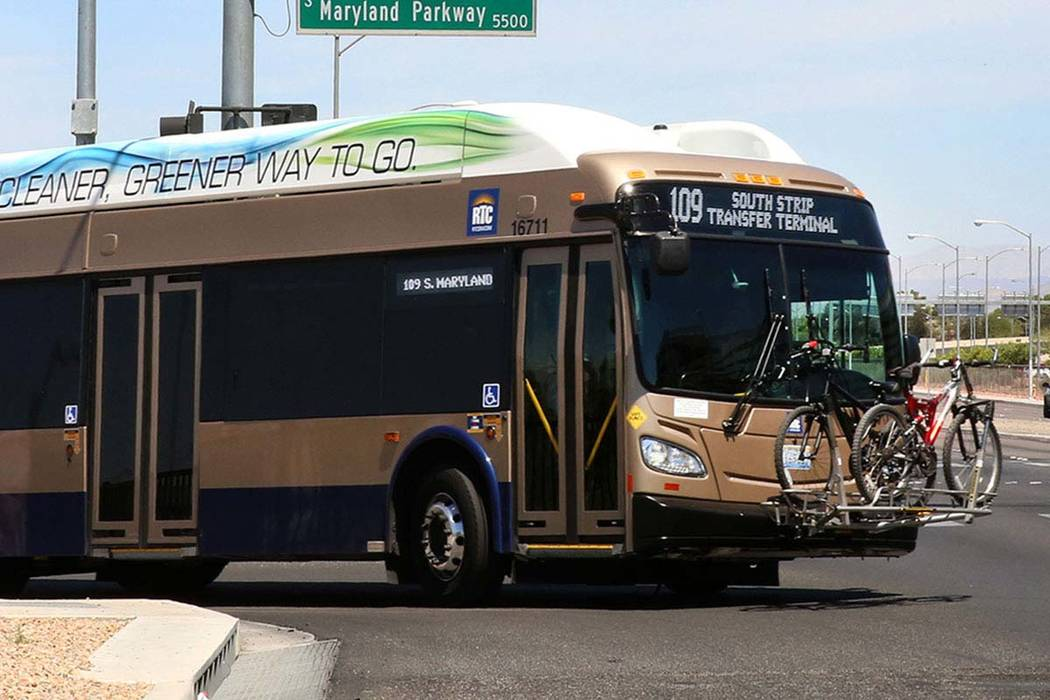 A RTC bus at the intersection of S. Maryland Parkway and Russel Road near McCarran Airport on Friday, June 9, 2017. Bizuayehu Tesfaye/Las Vegas Review-Journal @bizutesfaye