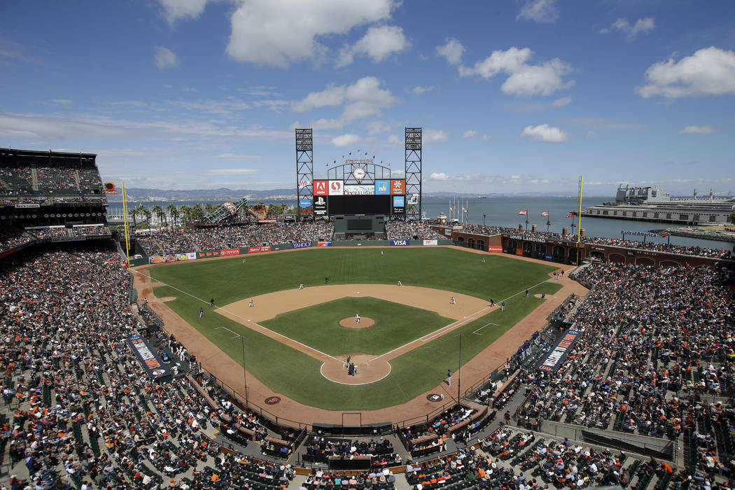 This June 15, 2016, file photo shows AT&T Park from an overhead view as the San Francisco Giants play the Milwaukee Brewers during a baseball game in San Francisco. (AP Photo/Marcio Jose Sanchez, ...