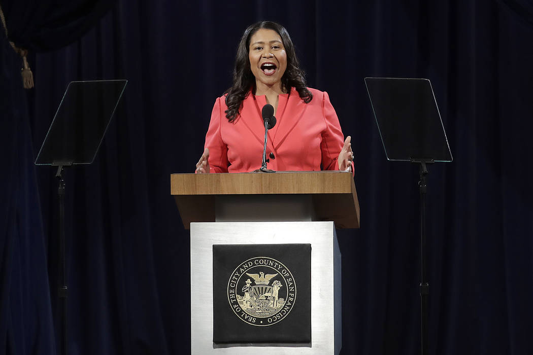 San Francisco Mayor London Breed delivers the state of the city address in San Francisco, Wednesday, Jan. 30, 2019. Breed swiped at the White House in her first state of the city address, saying t ...