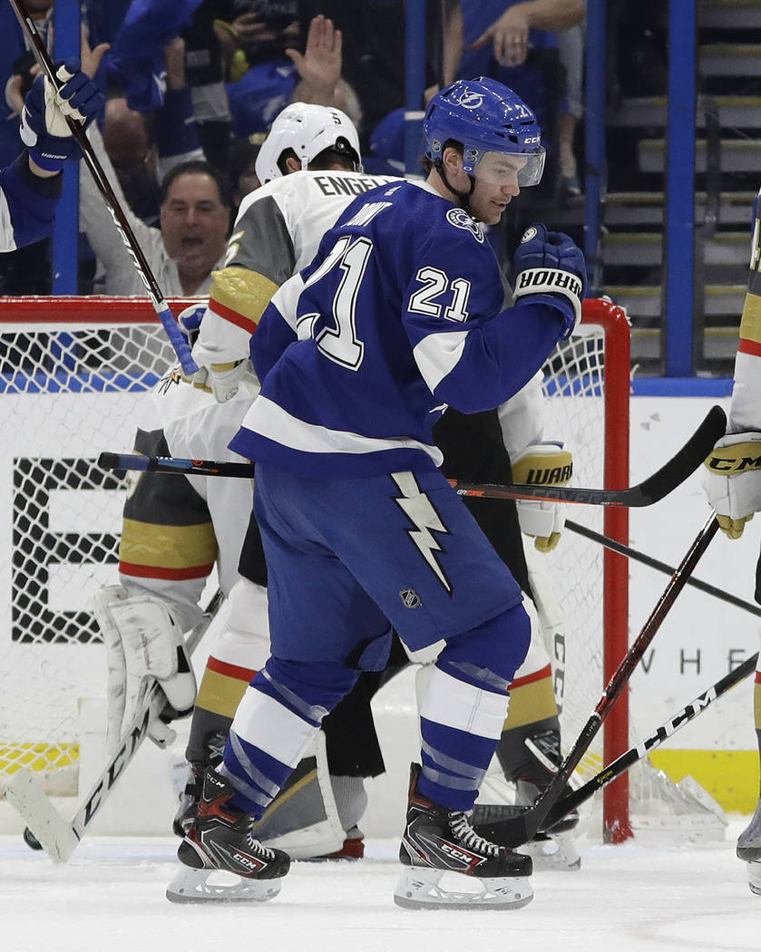 Tampa Bay Lightning center Brayden Point (21) pumps his fist after scoring against the Vegas Golden Knights during the first period of an NHL hockey game Tuesday, Feb. 5, 2019, in Tampa, Fla. (AP ...