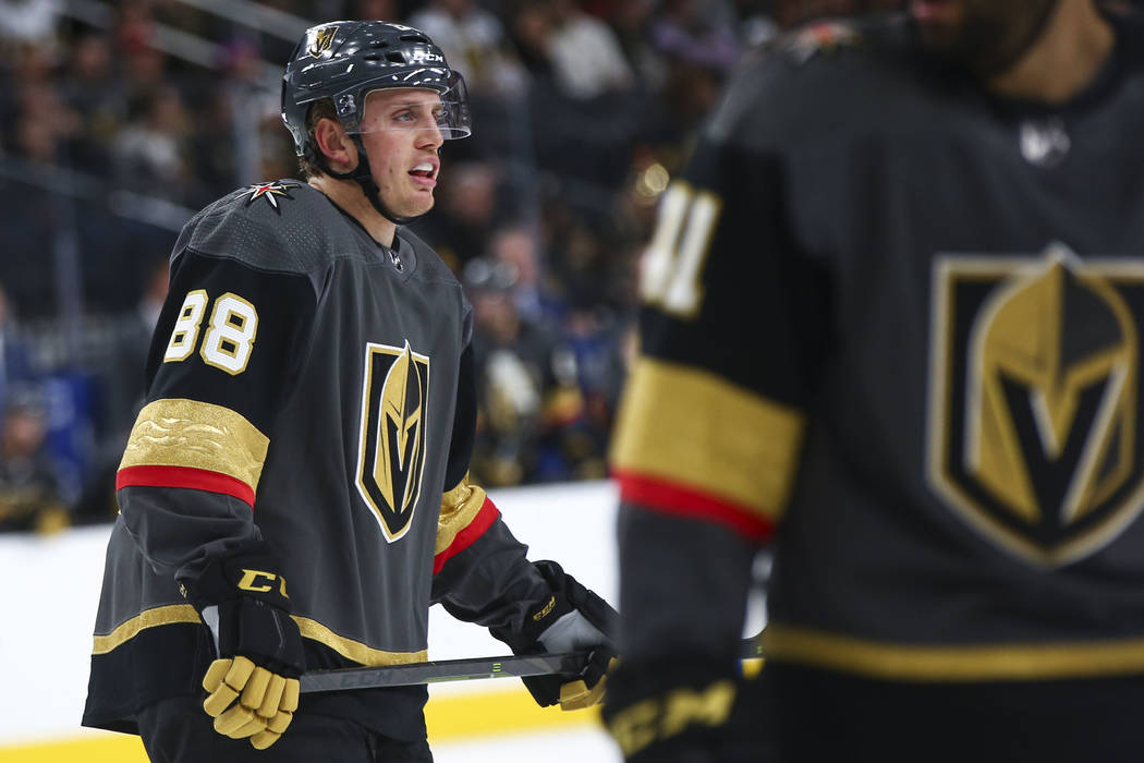 Golden Knights defenseman Nate Schmidt (88) looks on during the first period of an NHL hockey game against the Washington Capitals at T-Mobile Arena in Las Vegas on Tuesday, Dec. 4, 2018. Chase St ...