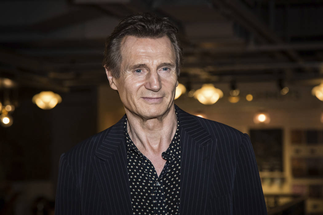Liam Neeson poses for photographers upon his arrival at the premiere of the film 'Hunt For The Wilderpeople' in London on Tuesday, Sept. 13, 2016. Liam Neeson says he had violent thoughts some tim ...