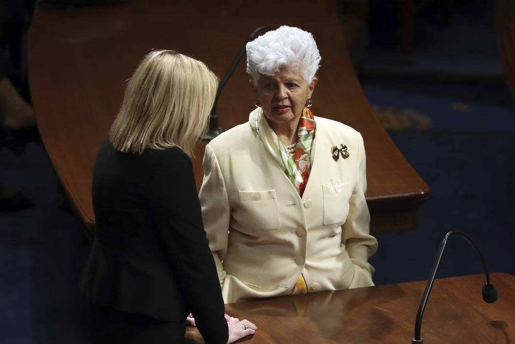 Rep. Grace Napolitano, D-Calif., right, talks on the floor before President Donald Trump delivers his State of the Union address to a joint session of Congress on Capitol Hill in Washington, Tuesd ...