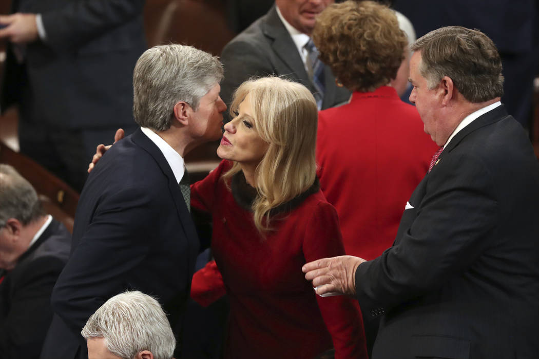 Counselor to the President Kellyanne Conway arrives to hear President Donald Trump deliver his State of the Union address to a joint session of Congress on Capitol Hill in Washington, Tuesday, Feb ...
