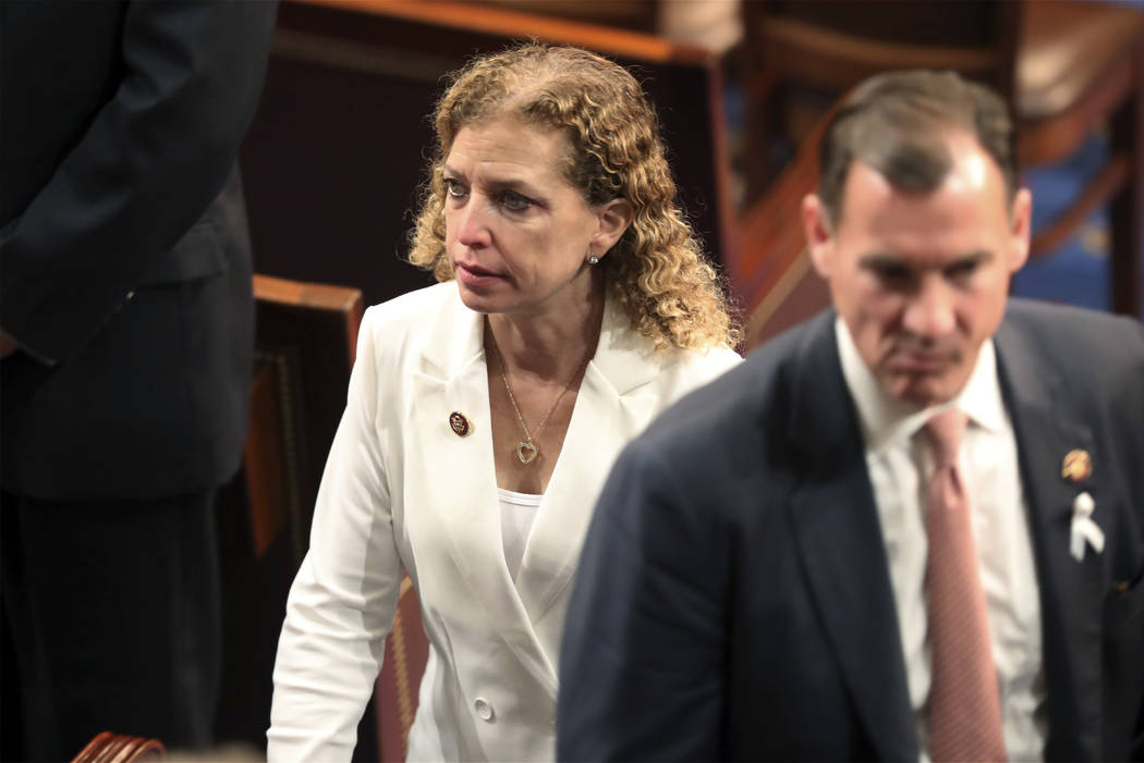 Rep. Debbie Wasserman Schultz, D-Fla., arrives to hear President Donald Trump deliver his State of the Union address to a joint session of Congress on Capitol Hill in Washington, Tuesday, Feb. 5, ...