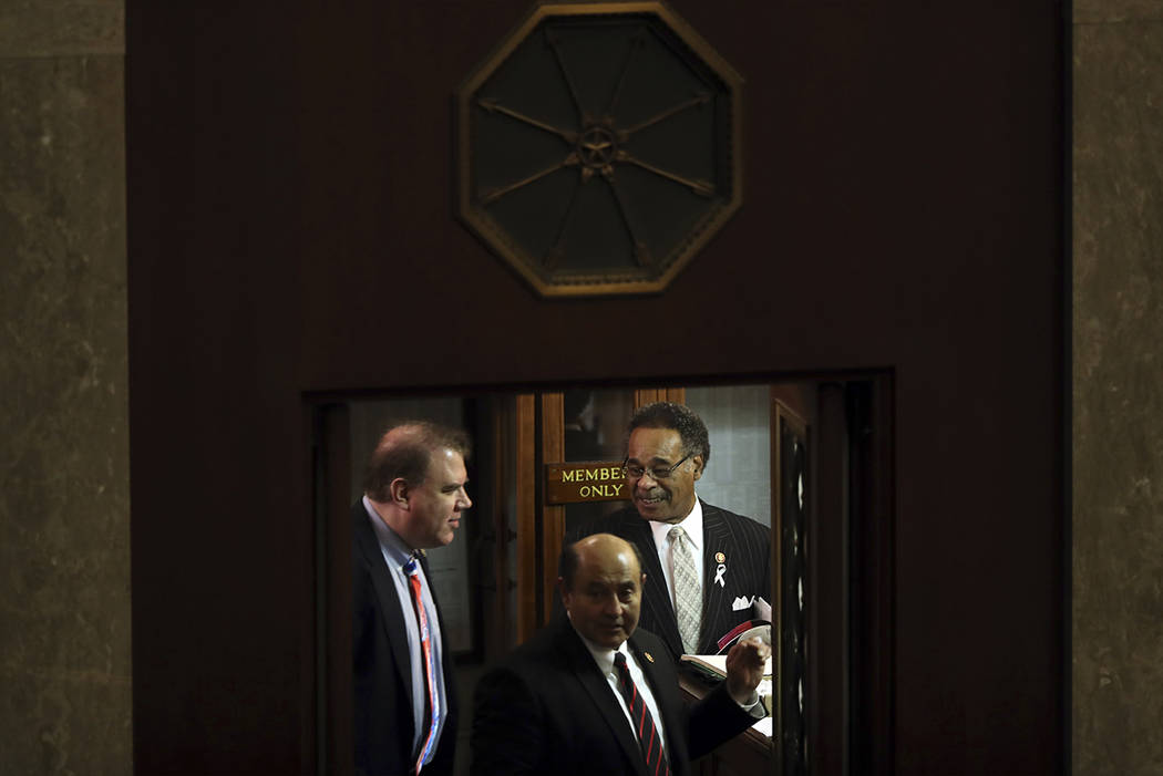 Rep. Emanuel Cleaver, D-Mo., right, arrives to hear President Donald Trump deliver his State of the Union address to a joint session of Congress on Capitol Hill in Washington, Tuesday, Feb. 5, 201 ...
