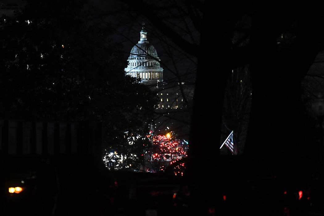 A view of the Capitol building from the White House in Washington before President Donald Trump heads there to deliver his State of the Union address, Tuesday, Feb. 5, 2019. (AP Photo/Susan Walsh)