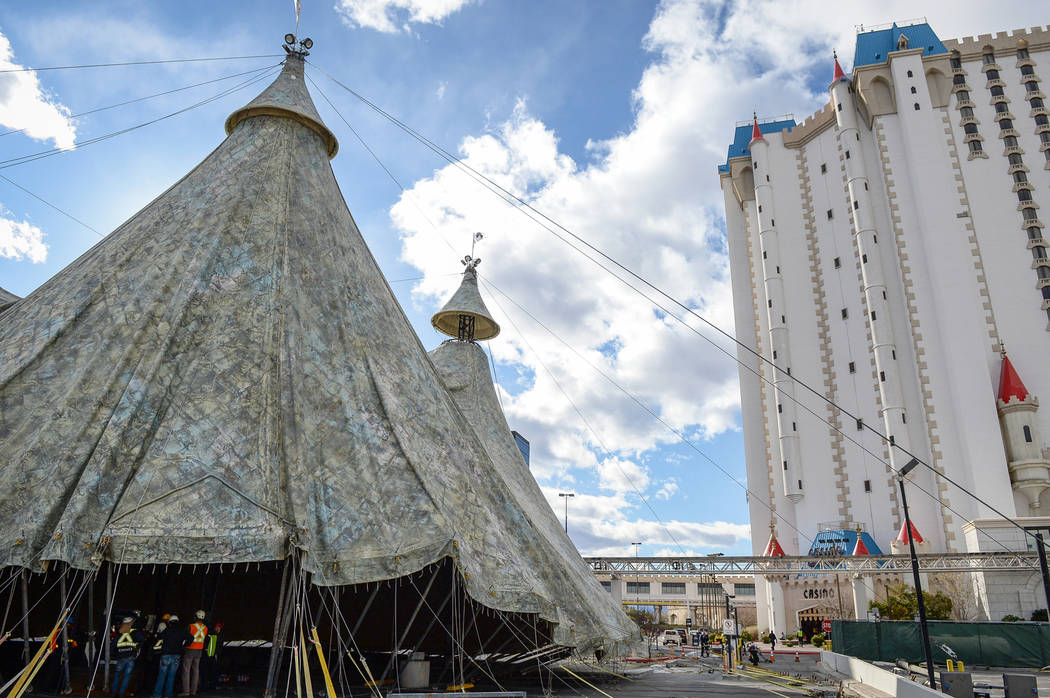 "Workers raise a tent, which will be the home of ""Fuerza Bruta,"" a temporary show at Excalibur on the Las Vegas Strip, Wednesday, Feb. 6, 2019. The show will run from March 7 to September 1, 20 ..."