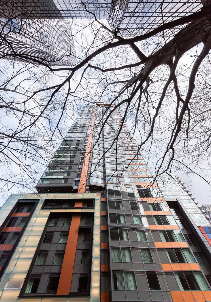 The Molasky Group of Cos. announced that it finished construction of Arrivé, a 43-story apartment and hotel tower in Seattle, seen above. (The Molasky Group of Cos.)
