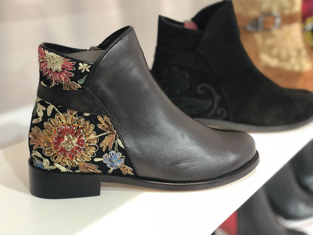 Embroidered shoes by Alormae at MAGIC in Las Vegas. (Janna Karel Las Vegas Review-Journal)