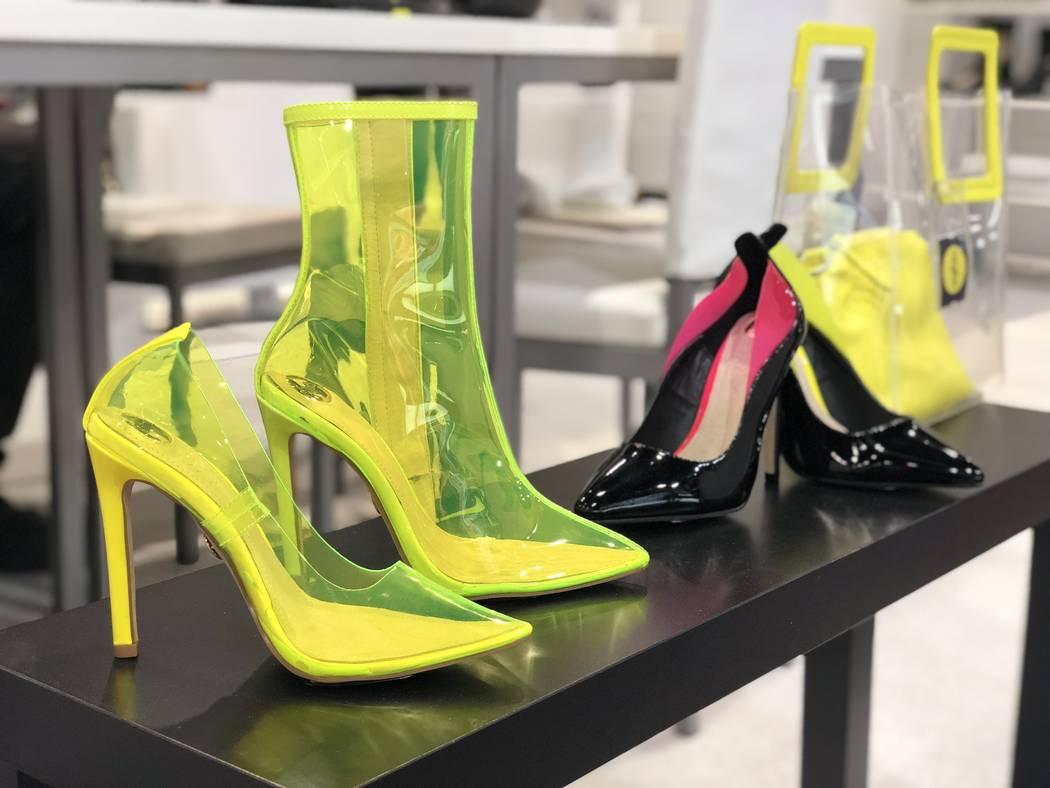 Plastic Femke style boots by Buffalo Boots at MAGIC in Las Vegas. (Janna Karel Las Vegas Review-Journal)