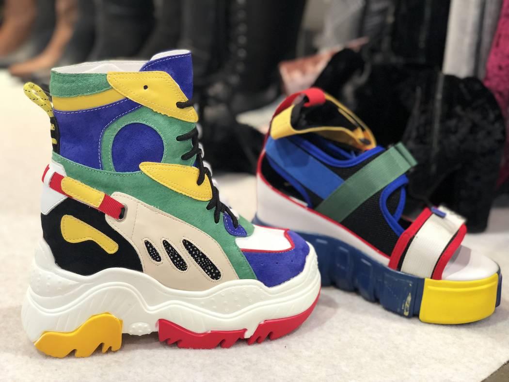 Bold, colorful sneakers by RealPlay at MAGIC in Las Vegas. (Janna Karel Las Vegas Review-Journal)