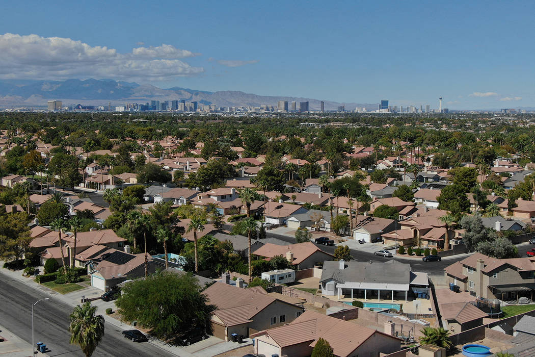 The Las Vegas Strip is seen from a Henderson neighborhood on Friday, October 5, 2018. (Michael Quine/Las Vegas Review-Journal) @Vegas88s