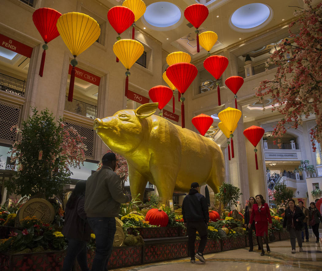 Visitors at The Venetian pass by a 3,000 pound golden pig in the waterfall atrium celebrating the Lunar New Year on Tuesday, Feb. 5, 2019, in Las Vegas. (Benjamin Hager/Las Vegas Review-Journal) @ ...
