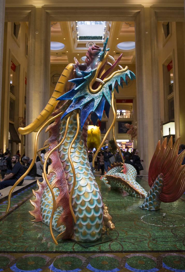 A dragon sculpture celebrating the Lunar New Year in the waterfall atrium on Tuesday, Feb. 5, 2019, at The Venetian, in Las Vegas. (Benjamin Hager/Las Vegas Review-Journal) @BenjaminHphoto