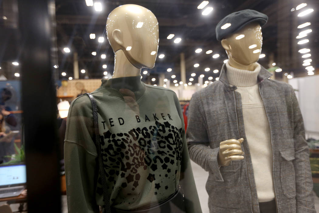 An example of a natural interpretation of an animal print at the Ted Baker booth at the fashion trade show MAGIC at the Mandalay Bay Convention Center in Las Vegas, Tuesday, Feb. 5, 2019. Accordi ...
