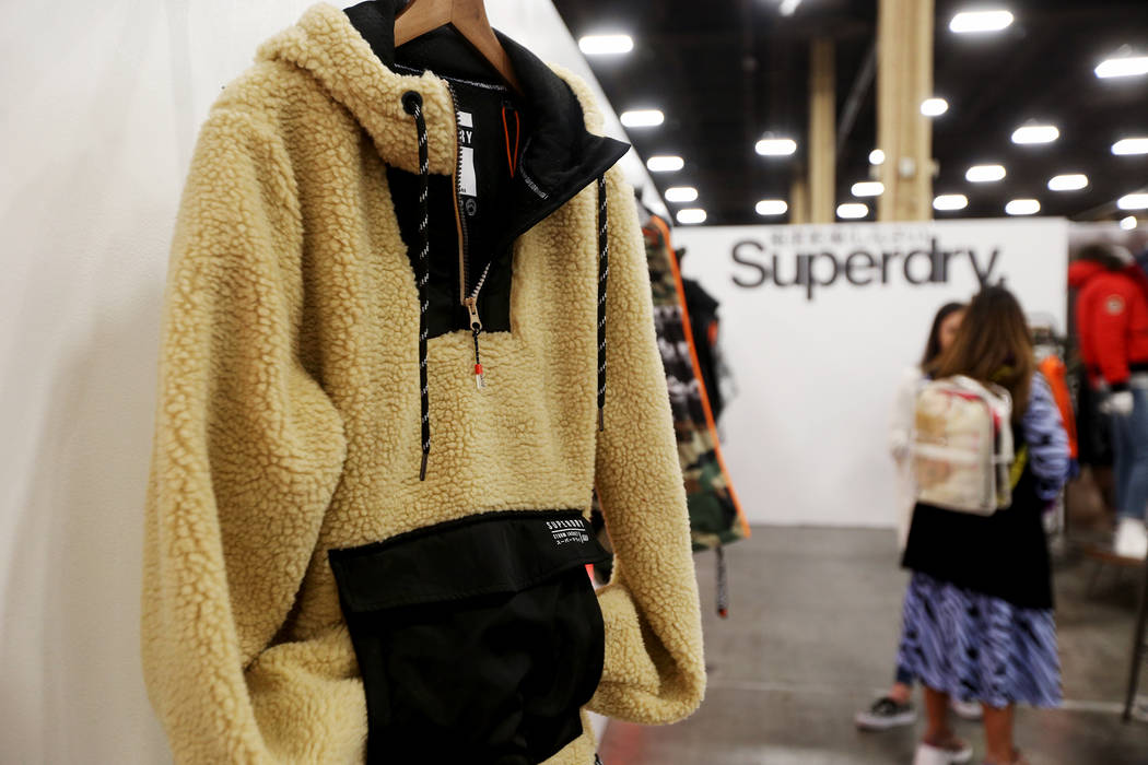 A fleece jacket at the Superdry booth at the fashion trade show MAGIC at the Mandalay Bay Convention Center in Las Vegas, Tuesday, Feb. 5, 2019. According to Brian Trunzo of the Worth Global Style ...