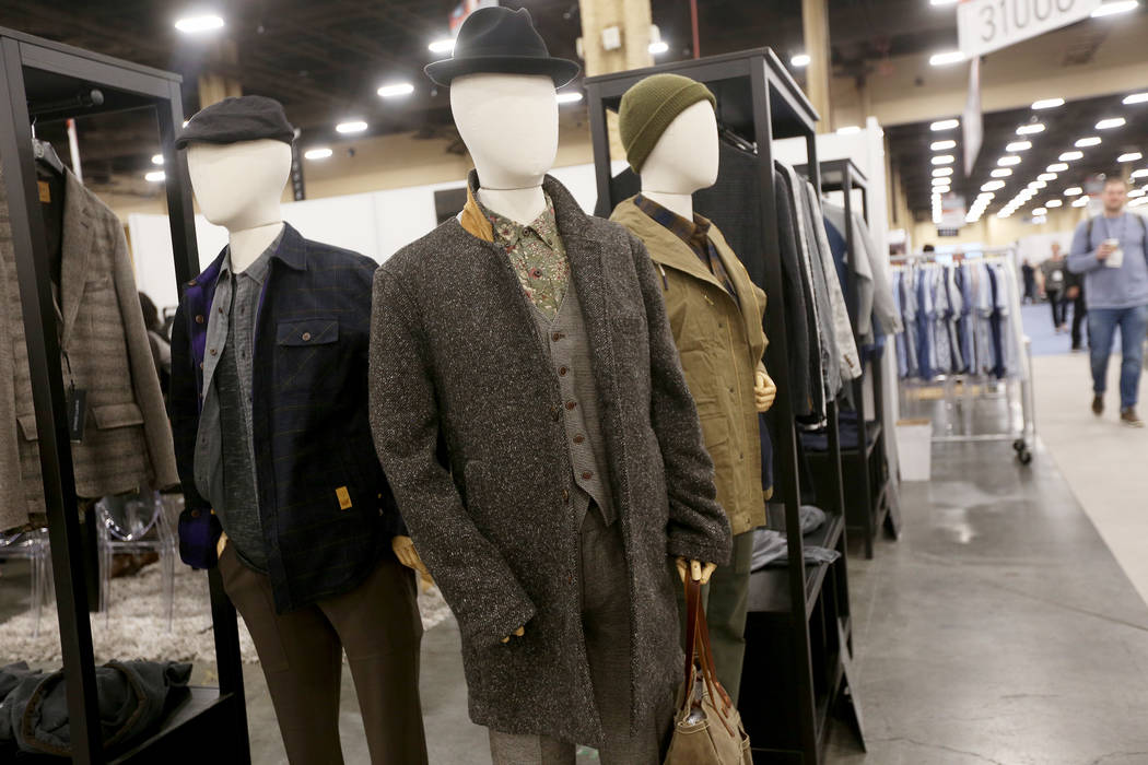 An example of a relaxed overcoat at the Nifty Genuis booth at the fashion trade show MAGIC at the Mandalay Bay Convention Center in Las Vegas, Tuesday, Feb. 5, 2019. According to Brian Trunzo of t ...