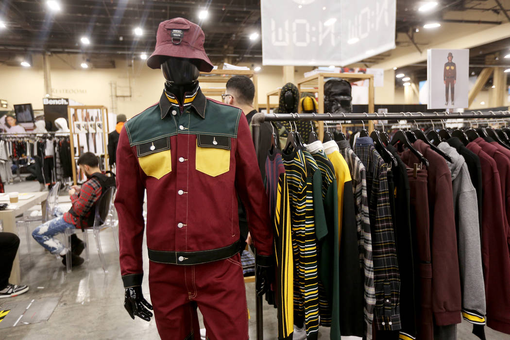 An example of unexpected color combinations as well as a '90s aesthetic at the Wesc booth at the fashion trade show MAGIC at the Mandalay Bay Convention Center in Las Vegas, Tuesday, Feb. 5, 2019. ...