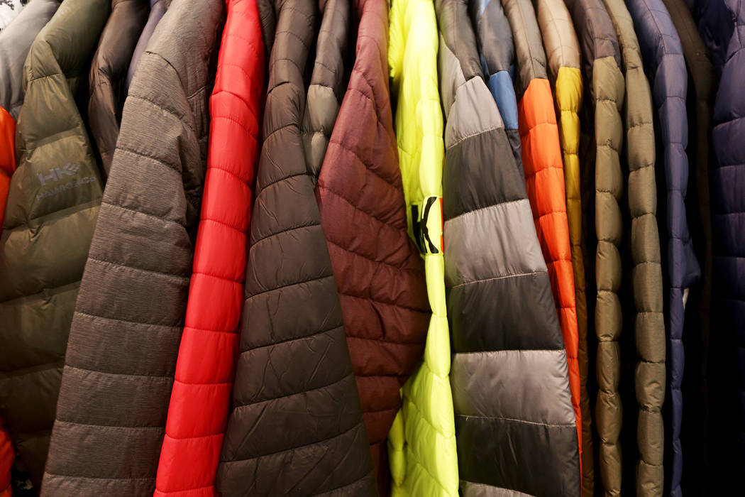 Puffa jackets at the Hawke & Co. booth at the fashion trade show MAGIC at the Mandalay Bay Convention Center in Las Vegas, Tuesday, Feb. 5, 2019. According to Brian Trunzo of the Worth Global ...