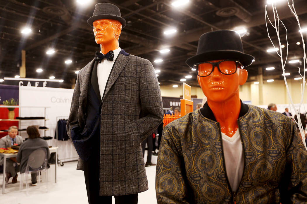 A relaxed plaid overcoat at the Tallia booth at the fashion trade show MAGIC at the Mandalay Bay Convention Center in Las Vegas, Tuesday, Feb. 5, 2019. According to Brian Trunzo of the Worth Globa ...