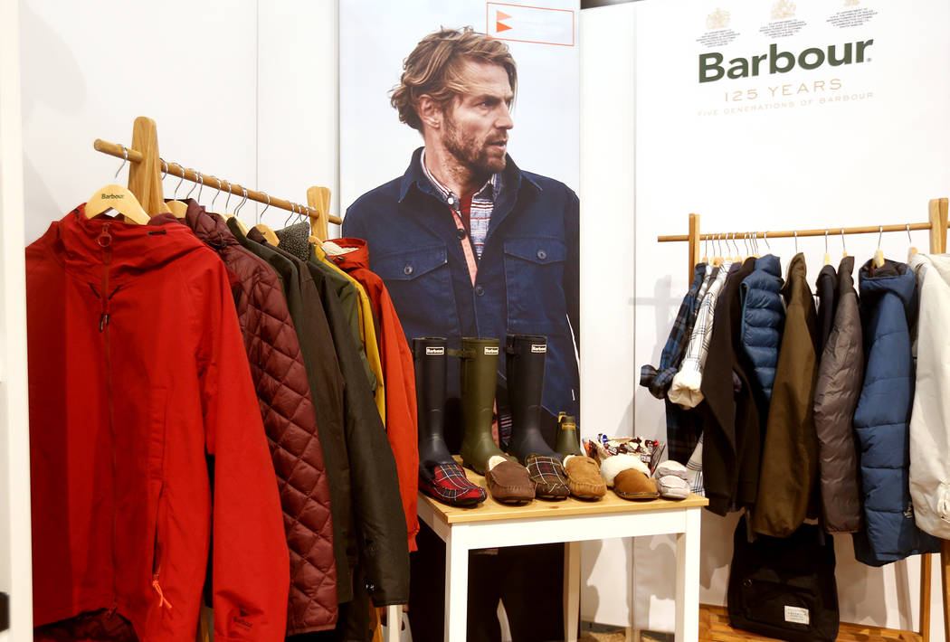 Outdoor-inspired styles at the Barbour booth at the fashion trade show MAGIC at the Mandalay Bay Convention Center in Las Vegas, Tuesday, Feb. 5, 2019. (Rachel Aston/Las Vegas Review-Journal) @roo ...